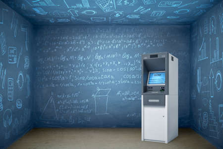 3d rendering of ATM in empty room with walls and ceiling all covered in math formulae. Stock Photo