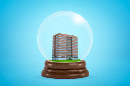 3d rendering of miniature brown multi-storey building inside snowglobe on light blue background.