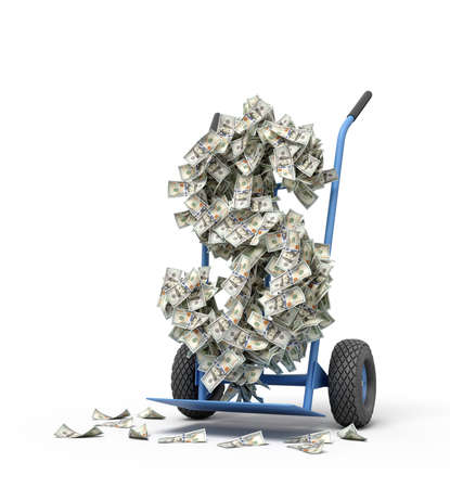 3d rendering of big dollar sign made of banknotes on a hand truck