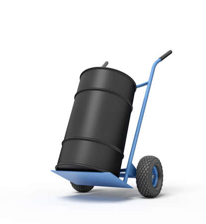 3d rendering of black barrel standing on top of blue hand truck.