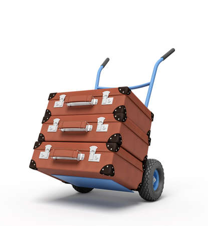 3d rendering of blue hand truck with stack of three brown suitcases on top. Get rid of old stuff. Garage sale. Carry luggage.