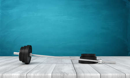 3d rendering of barbell with one weight plate taken off, lying on wooden surface near blue wall with copy space.