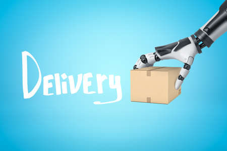3d rendering of robotic hand holding cardboard box with Delivery sign on blue background 免版税图像