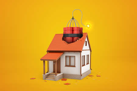 3d rendering of small one-storey house with broken roof and enormous bundle of dynamite sticking out of hole on amber background. Terrorism. Family problems. Divorce proceedings.
