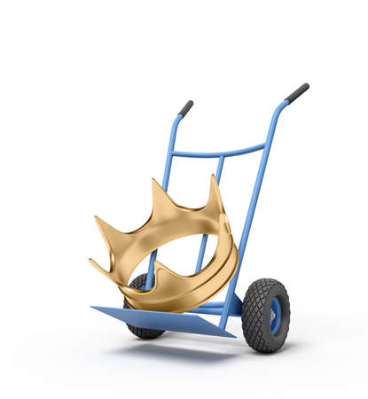3d close-up rendering of big golden crown on blue hand truck.