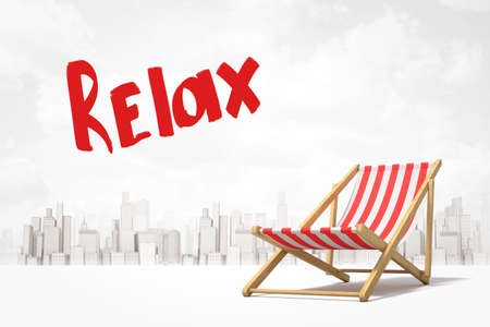 3d rendering of red and white striped deck chair and title Relax against background of gray and white modern city.