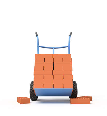 3d rendering of stack of red perforated bricks on blue hand truck with several bricks on ground. Stockfoto