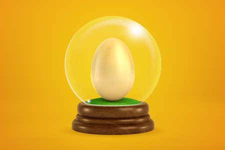 3d rendering of chicken egg inside snowglobe on amber background.