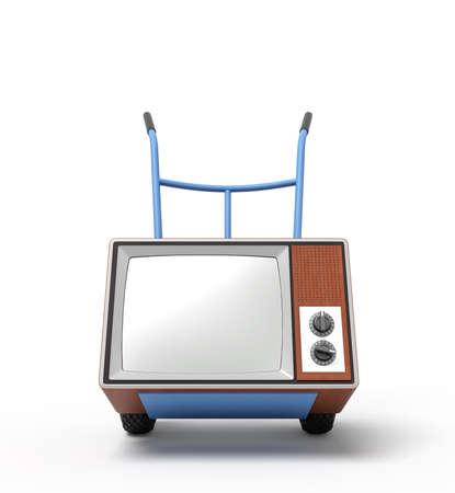 Representación 3D de una carretilla de mano azul de pie en media vuelta con un televisor retro marrón. Foto de archivo
