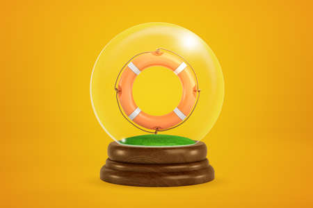 3d rendering of orange lifebuoy floating inside snow globe on amber background. Stok Fotoğraf