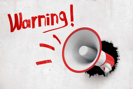 3d rendering of a red and white megaphone breaking white wall with red Warning sign on white background