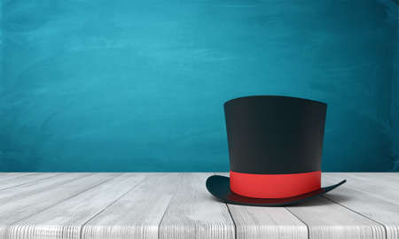 3d rendering of black tophat with red ribbon standing on wooden table near blue wall with copy space. Stok Fotoğraf