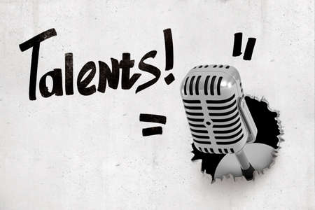 3d rendering of concrete wall with title Talents and metal microphone that has broken through from behind the wall. Zdjęcie Seryjne