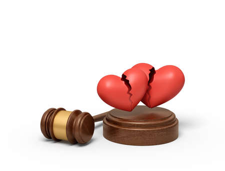 3d rendering of brown wooden gavel and two red broken hearts on round wooden block