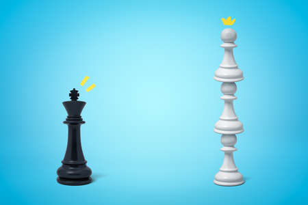3d rendering of black chess king standing opposite three white pawns on top of one another on light blue background. Фото со стока