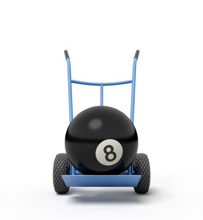 3d close-up rendering of black bowling ball on blue hand truck.