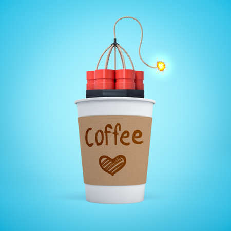 3d close-up rendering of single-use coffee cup with lit bundle of dynamite inside on light blue background. Drink caffeinated beverages. Stay awake. Boost energy levels.