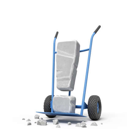 3d rendering of large stone exclamation mark on blue hand truck with big stone crumbs on ground.