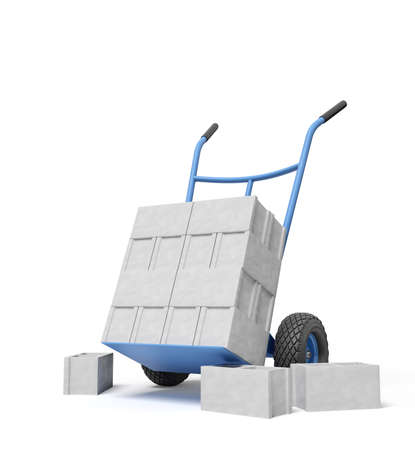 3d rendering of stack of grey hollow bricks on blue hand truck with several bricks lying on ground.