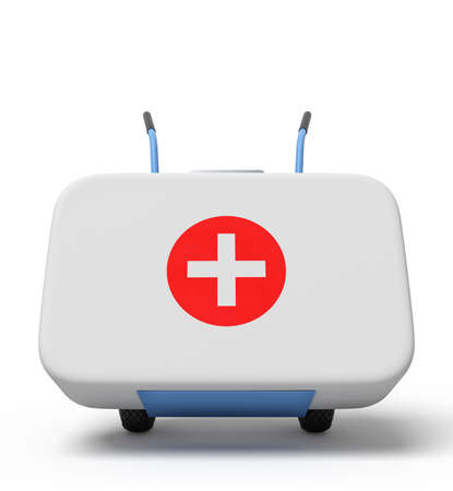 3d rendering of white first aid medical box on a hand truck