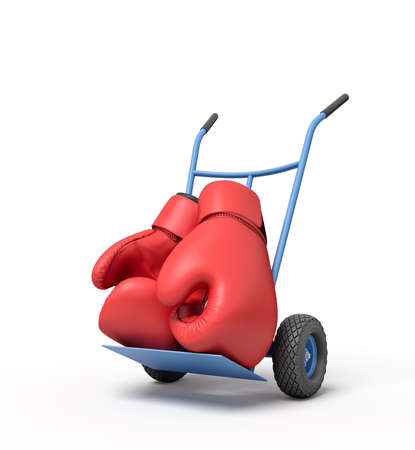 3d rendering of pair of big red boxing gloves on blue hand truck. Retire from sports. Prize fight. Boxing equipment.