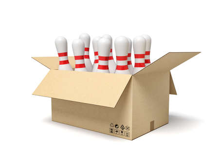 3d rendering of white bowling pins in carton box Active leisure activities. Sports equipment. Hobbies and pastimes. 版權商用圖片