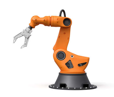 3d rendering of orange robotic arm isolated on white background. Technological progress. Digital art. Science and technology.