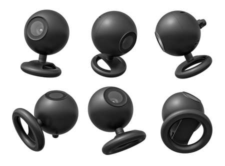 3d rendering of set of six black webcams isolated on white background.