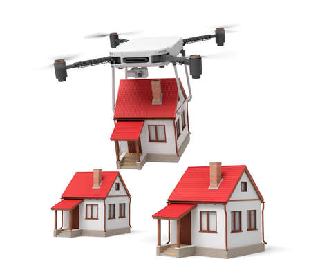 3d rendering of camera drone carrying small cottage and putting it down to two identic cottages isolated on white background.