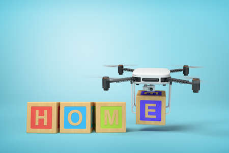 3d rendering of word HOME written with ABC blocks, camera drone putting final E at the end, on blue background.