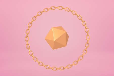 3d close-up rendering of gold icosahedron encircled with gold chain bracelet floating on yogurt pink background. Shapes and objects. Precious metals. Expensive jewelry.