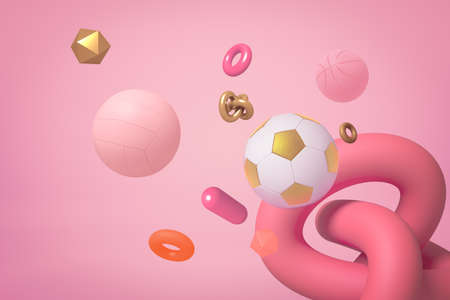3d rendering of miscellaneous objects and shapes floating on pastel pink background.