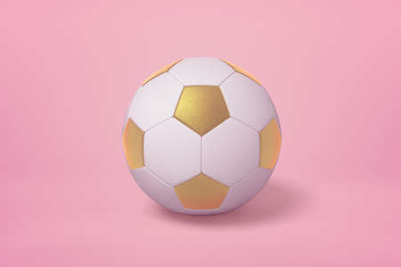 3d rendering of golden white football ball on pink background