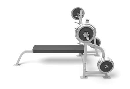 3d rendering of weight bench with metal barbell isolated on white background Фото со стока