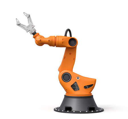 3d rendering of orange robotic arm with grey gripper standing on white background.
