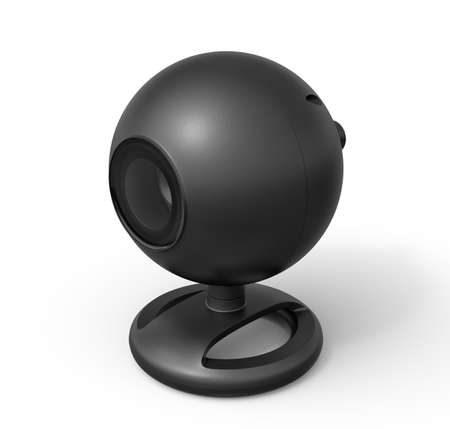 3d close-up rendering of black webcam on white background.