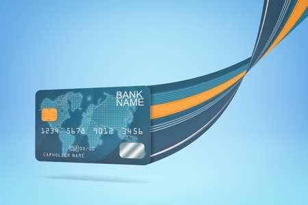 3d rendering of blue bank card with trail on blue background. Business and finance. Banking and financial industry. Management and savings. Фото со стока