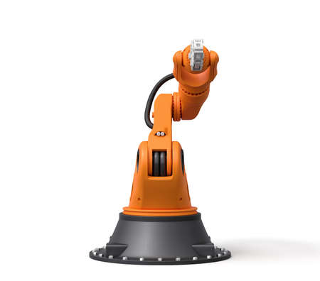 3d rendering of orange robotic arm with grey gripper standing on white background. Advanced technology. Automated industry. Industrial equipment.