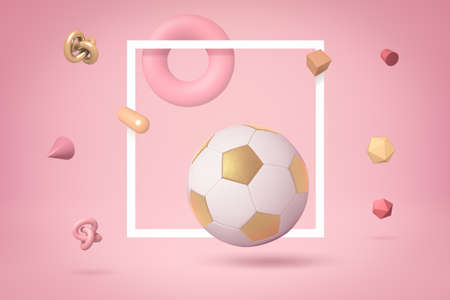 3d rendering of white and gold football highlighted with white frame, floating on yogurt pink background, with lots of different objects floating around. Shapes and objects. Leisure and hobbies. Stock Photo