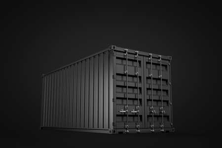 3d rendering of closed black shipping container on black background