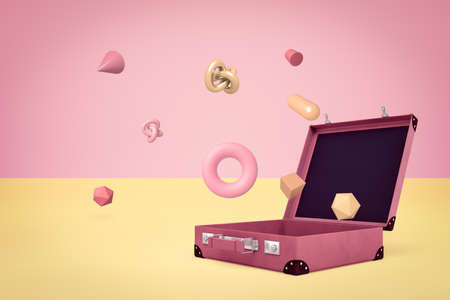 3d rendering of open suitcase with random objects on yellow pink background