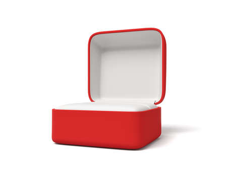 3d rendering of empty engagement ring red box isolated on white background Imagens