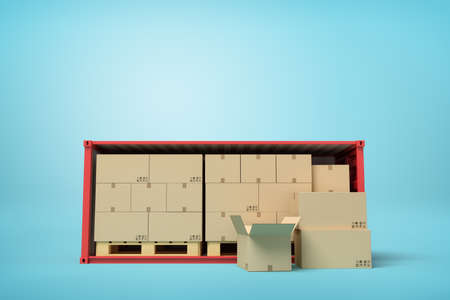3d rendering of red open side shipping container full of cardboard packages, standing on light blue background, with 3 packages already unloaded.