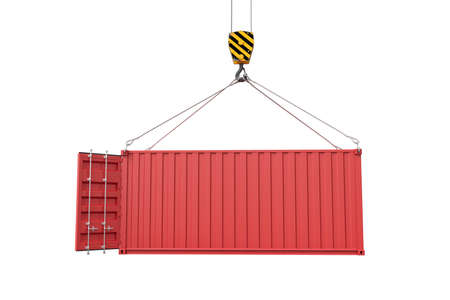 3d rendering of crane lifting open empty red shipping container isolated on white background