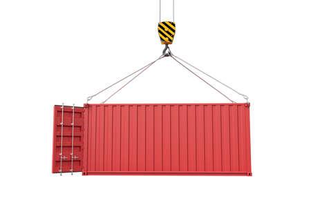 Le rendu 3D de la grue de levage ouvrir le conteneur d'expédition rouge vide isolé sur fond blanc