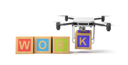 3d rendering of word WORK written with ABC blocks, camera drone putting final letter K at the end, on white background.