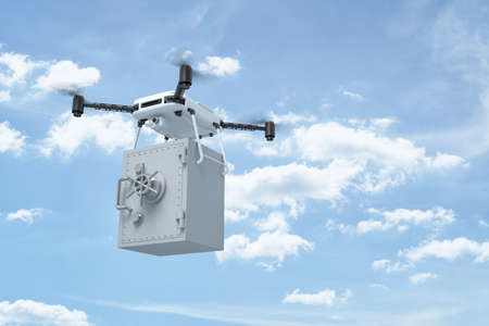 3d rendering of camera drone carrying heavy light gray money safe in blue copy space sky with white clouds. Archivio Fotografico