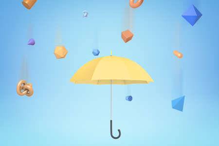 3d rendering of yellow umbrella under the rain of different geometric objects on light blue background.