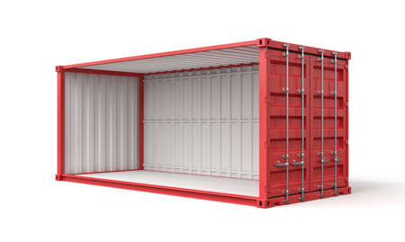 3d rendering of open empty red shipping container side view isolated on white background Imagens