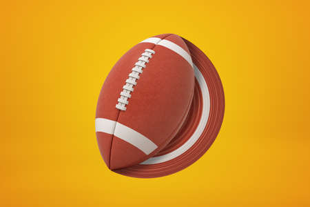 3d rendering of brown oval ball for American football which left paintbrush trace of the same color on amber background. Stock Photo